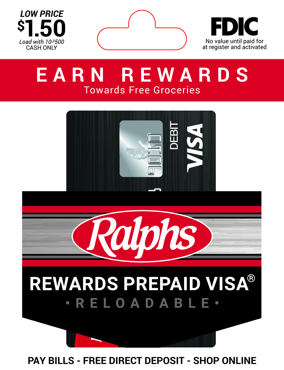Ralphs Rewards Prepaid Visa Temporary Card Packaging