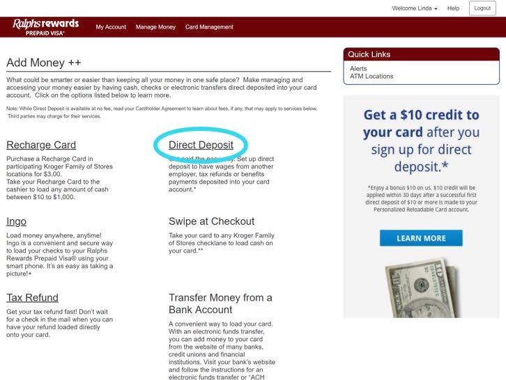 prepaid card direct deposit